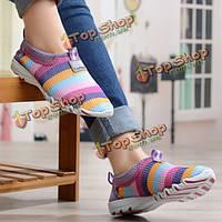 Ботинки женщин летом сетки дышащий мягкие случайные скольжения на низких топ моды спортивной обуви