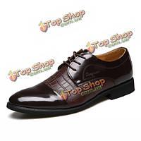 Мужчины новая кожа формальный плоский шнуровке моды комфортно бизнес обувь