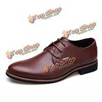 Мужчины кожаные бизнес формальные удобные ботинки партии мягкие плоские моды на шнуровке