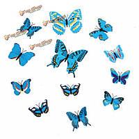 12шт 3-и этикетки синие стенные переводные картинки бабочки домашнее художественное оформление свадебной вечеринки
