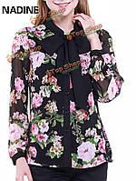 Надин блудниц лук галстук цветок напечатанный кнопка шифон блузки