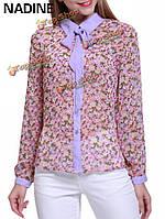 Надин элегантный лук цветочные напечатаны лоскутные женщин шифон блузки
