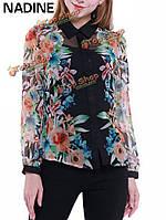 Надин работать элегантный ола сексуальный цветок напечатаны шифон блузка
