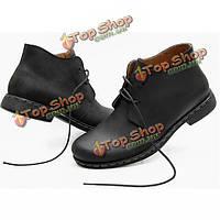 Мужская мода британском стиле Винтаж Мартин ботинки обувь из натуральной кожи
