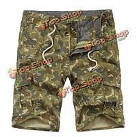 Мужской открытый камуфляж мульти-карман до колен свободные случайные хлопка шорты грузов
