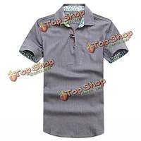 Мужская белье Отложной воротник дышащая мягкий летом короткий рукав рубашки лен футболку