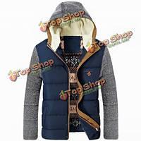 Утолщенной Ветрозащитная теплое пальто случайные хлопка мягкий куртка с капюшоном пэчворк