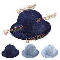Женщины денима сплошной цвет ковша рыбак джинсовой открытые летние шляпы Козырьки