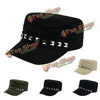 Унисекс женщины мужчины ретро хлопок заклепки шляпа твердый регулируемые с плоской вершиной бейсболка спорта на открытом воздухе