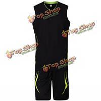 Мужская одежда лето баскетбол игра дышащий быстросохнущие рукавов команда спортивный костюм 6 цветов