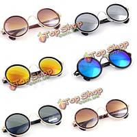 Женщин мужская Винтаж ретро круглый золотой металлический зеркальные солнцезащитные очки