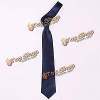 Мужчины сплошные равнины темно-синие галстуки классический жаккард полиэстер тканые Slik бизнес свадьба галстук