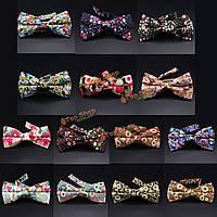 Мужчины галстук-бабочка цветок напечатаны цветочные хлопка костюм свадебные аксессуары Жениха