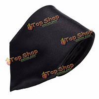 Мужчины сплошной черный шелк полиэстер галстук обычная жаккард тканые классический галстук