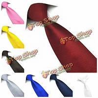 PenSee мужские галстук 100% полиэстер шелк в твердой полосой нескольких цветов формальный галстук аксессуар