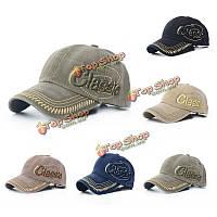 Мужская чистого хлопка бейсболки классические буквы вышивка удобные регулируемые шляпы