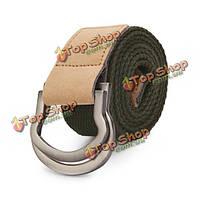 115см мужчины двойное кольцо петли холст пояса сплава кожа пряжки штаны полосы