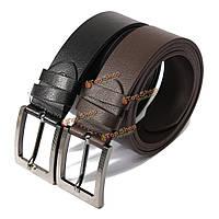 Мужчины черный коричневый перитонеального второй слой кожаный ремень контактный пряжки брюки полосы