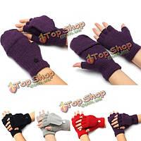 Мужчины женщина флип пальцев трикотажные варежки комбинированные половина палец перчатки