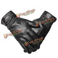 Мужские пряжки Велоспорт антифриз тепловой овчины кожаные перчатки