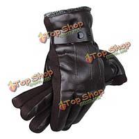 Мужчины мужские из искусственной кожи вождения перчатки трикотажные пряжки ветрозащитной толстые лавсан белье велосипедного варежки