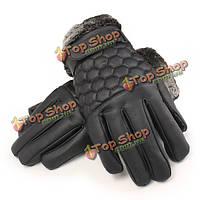 Мужчины мужской кожаный PU сетки вождения перчатки сенсорный экран ватки белье Skidproof ветрозащитные варежки