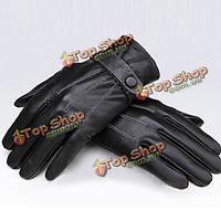 Черные кожаные перчатки зимние на застежке