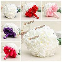 22 головки Colourfast пены розы украшения кристалл искусственный цветок домой букет невесты свадьба вечеринка
