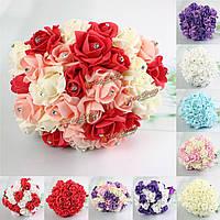 30 голов Colourfast пены розы украшения кристалл искусственный цветок домой букет невесты свадьба вечеринка
