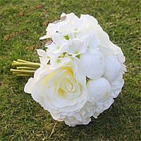 Белый искусственный шелк роза гортензия свадебный букет невесты украшение свадебного банкета