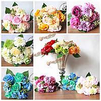 Невеста шелк розы букет георгин искусственный цветок свадьба поставок партия украшения дома