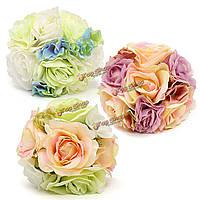 Невеста искусственный шелк розы гортензия камелии букет цветов украшение девушки свадебного банкета