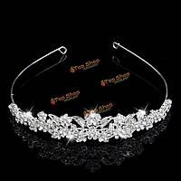 Невеста серебристого металла кристалл горный хрусталь листьев цветка заставок Свадебные тиара партии оголовье