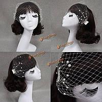 Свадебный головной убор свадебный жемчуг сетка Birdcage лицо вуаль чародей вуали крышки с расческой