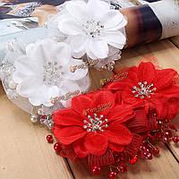 Невесты красный белый цветок свадебный свадьба горный хрусталь кристалл заколки для волос головной убор аксессуары