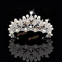 Свадебный свадебный кристалл Rhinstone жемчуг серебро Королева Корона аксессуары тиара волос оголовье