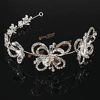 Невеста бабочка горный хрусталь кристалл для новобрачных тиару свадьба Hairband корону головной убор