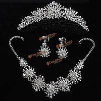 Невесты горный хрусталь жемчужина короны ожерелье серьги свадебный комплект ювелирных изделий венчания платья аксессуары
