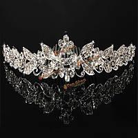 Невеста цветок лист горный хрусталь кристалл головной убор венчания кроны тиары Hairband с расческой