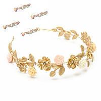 Свадебный кристалл цветок лист горный хрусталь золотые аксессуары для волос кроны венчания оголовье тиары ювелирных изделий