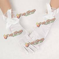 Атласные короткие свадебные перчатки белые