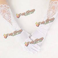 Перчатки свадебные белые атласные с кружевом