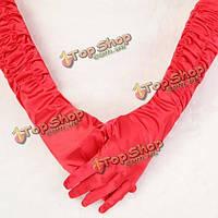 Перчатки длинные атласные белые/красные