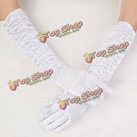 Перчатки длинные атласные белые/красные XL, фото 1