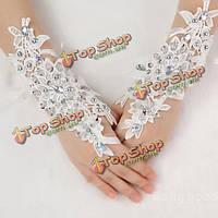 Перчатки свадебные со стразами