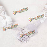 Перчатки свадебные длинные белые атласные с бантом