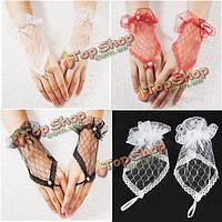 Кружева запястье пальцев свадебный вечер партии свадебные короткие перчатки платье