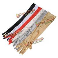 Длинные атласные перчатки до локтя