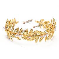 Невеста золотые листья аксессуары для волос оголовье металла искусственный жемчуг свадебный головной убор партии