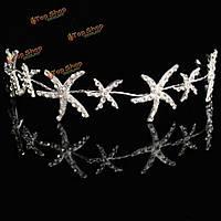 Морская звезда кристалл горный хрусталь для новобрачных тиара венец оголовье Hairband выпускного вечера венчания аксессуары